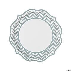 Grey Chevron Scalloped Paper Dinner Plates
