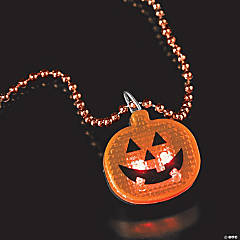 Halloween Beaded Necklaces with Light-Up Pumpkin Clip Strip