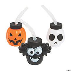 Halloween Character Cups with Straws