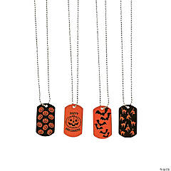 Halloween Print Dog Tag Necklaces
