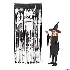 Halloween Skull Foil Fringe Door Curtain