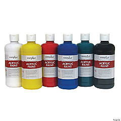 Handy Art Acrylic Paint, Assorted Colors, 16 oz, Set of 6