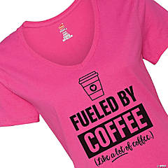 Hanes® Women's V-Neck Short Sleeve Fueled by Coffee T-Shirt - 2XL