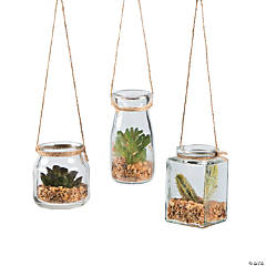 Hanging Jars with Faux Succulents
