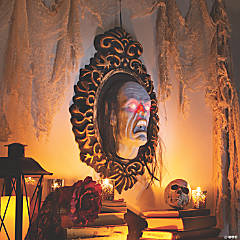Hanging Mirror with Jumping Face Halloween Decoration