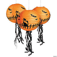 Hanging Paper Lanterns with Fringe Halloween Decorations