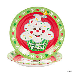 """Happy Birthday Jesus!"" Paper Dessert Plates - 8 Ct."