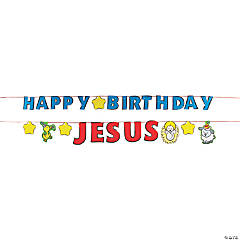 Happy Birthday Jesus Pennant Banner