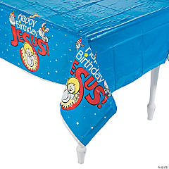 Happy Birthday Jesus Plastic Tablecloth