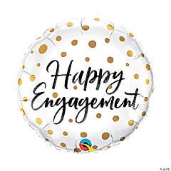Happy Engagement Gold Dots Mylar Balloon
