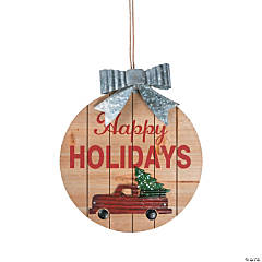 Happy Holidays Red Truck Sign