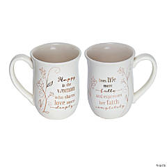 Happy Is the Woman Ceramic Mug