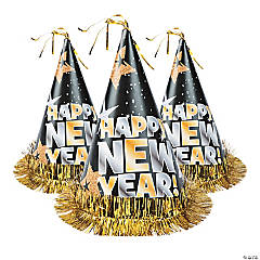 Happy New Year Cone Hats - 12 Pc.