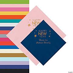 Happy New Year Personalized Napkins - Beverage or Luncheon