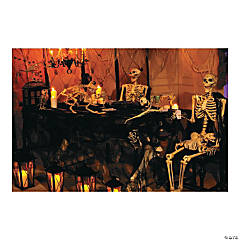 Haunted Skeleton Banquet Backdrop Halloween Decoration
