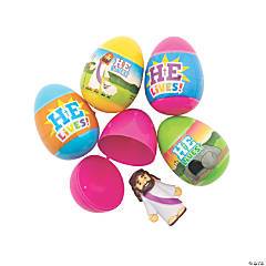 He Is Risen Toy-Filled Plastic Easter Eggs - 48 Pc.