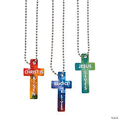 He Lives Cross-Shaped Dog Tag Necklaces