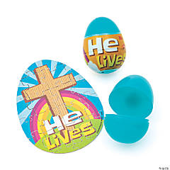 He Lives Puzzle-Filled Plastic Easter Eggs - 12 Pc.