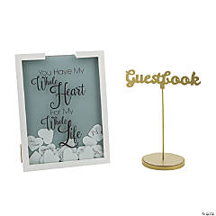 Heart Drop Wedding Guest Book with Table Sign