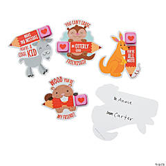 Heart Erasers on Animal Valentine's Day Cards