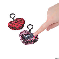Heart Flipping Sequin Backpack Clip Keychains