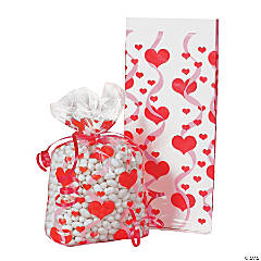 Heart Print Cellophane Bags