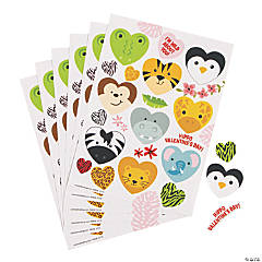 Heart-Shaped Animal Sticker Sheets