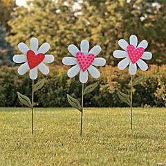 Heart-Shaped Flower Yard Signs
