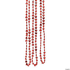 Heart-Shaped Mardi Gras Beaded Necklaces