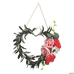 Heart-Shaped Peony Accent Faux Floral Wreath