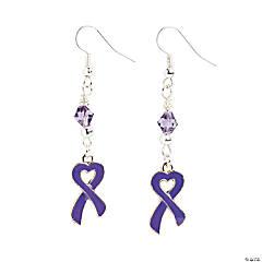 Heart-Shaped Purple Ribbon Earrings Craft Kit