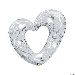 Hearts & Filigree Heart Mylar Balloon