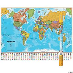 "Hemispheres Blue Ocean Series World Laminated Wall Map (38"" x 51"") - Set of 2 maps"
