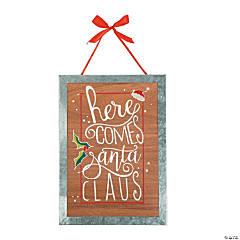Here Comes Santa Claus Wood Wall Sign