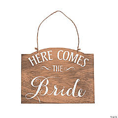 Here Comes the Bride Rustic Sign