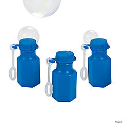 Hexagon Blue Mini Bubble Bottles - 48 Pc.