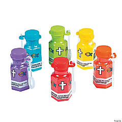 Hexagon Religious Mini Bubble Bottles