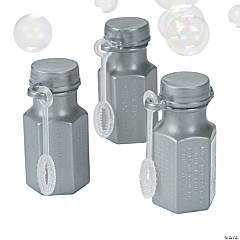 Hexagon Silver Mini Bubble Bottles