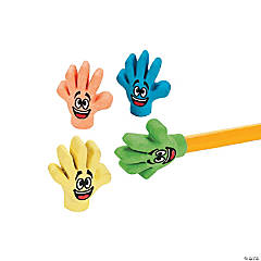 High Five Pencil Top Erasers - 24 Pc.
