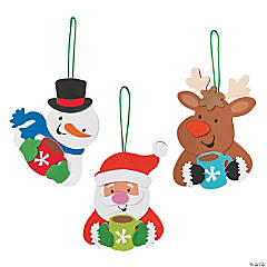 Holiday Characters Drinking Cocoa Ornament Craft Kit