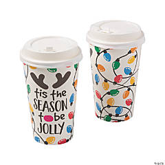 Holiday Lights Insulated Coffee Paper Cups with Lids