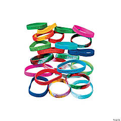 Holiday Religious Sayings Rubber Bracelet Mega Assortment