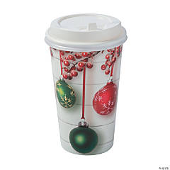 Holiday Shiplap Insulated Coffee Paper Cups with Lids