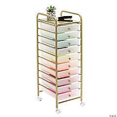 Honey Can Do 10-Drawer Metal Rolling Storage Cart - Gold