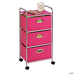 Honey Can Do 3 Drawer Rolling Cart - Pink
