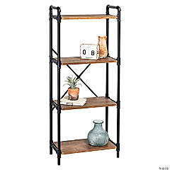 Honey Can Do 4-Tier Industrial Bookshelf - Black