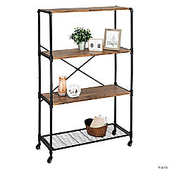 Honey Can Do 4-Tier Industrial Rolling Bookshelf With Wheels