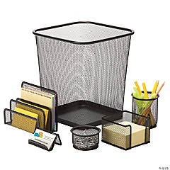 Honey Can Do 6 Piece Mesh Desk Set - Black