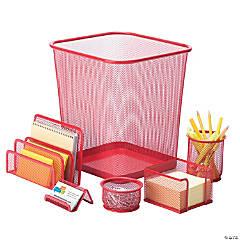 Honey Can Do 6 Piece Mesh Desk Set - Red