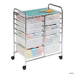 Honey Can Do Metal Rolling Storage Cart with 12 Plastic Drawers - Chrome